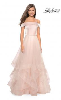 Picture of: Elegant Off the Shoulder Tulle Layered Ball Gown in Blush, Style: 27224, Main Picture