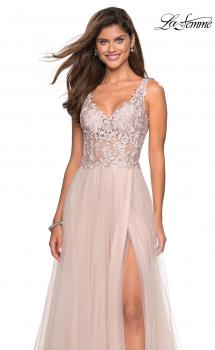 Picture of: Long Tulle Gown with Embellished Sheer Bodice in Blush, Style: 27574, Main Picture