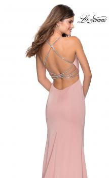 Picture of: High Neckline Prom Dress with Rhinestone Straps in Blush, Style: 28537, Main Picture