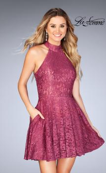 Picture of: Short Halter Top Dress with Scallop Keyhole Back in Boysenberry, Style: 25099, Main Picture