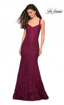 Picture of: Open Back Stretch Lace Long Prom Dress in Boysenberry, Style: 27709, Main Picture