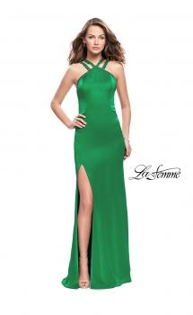Picture of: Satin Prom Gown with Beaded Straps and Open Back in Bright Emerald, Style: 25906, Main Picture