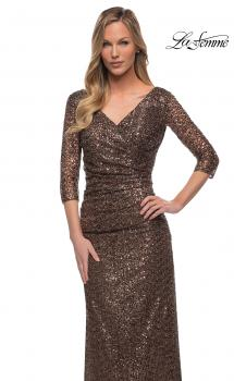 Picture of: Three-Quarter Sleeve Sequin Dress with Ruching in Bronze, Main Picture
