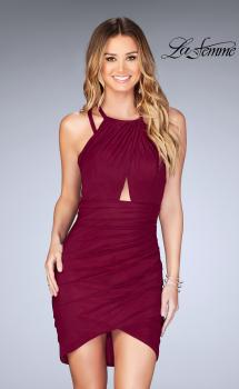 Picture of: Gathered Jersey Short Dress with Key Hole Back in Burgundy, Style: 25109, Main Picture