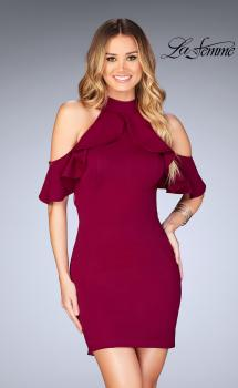 Picture of: Ruffle Halter Top Dress with Tight Jersey Skirt in Burgundy, Style: 25147, Main Picture