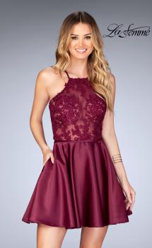 Picture of: Sheer Illusion Dress with Scattered Lace and Short Skirt in Burgundy, Style: 25202, Main Picture