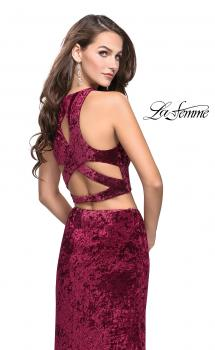 Picture of: Crush Velvet Two Piece Prom Dress with Slit in Burgundy, Style: 25431, Main Picture