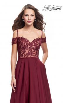 Picture of: Long A-line Prom Dress with Sheer Lace Beaded Bodice in Burgundy, Style: 25479, Main Picture