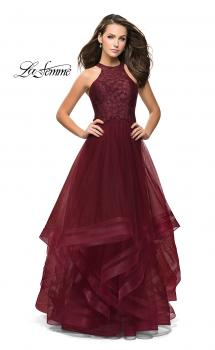 Picture of: Long Prom Ball Gown with Tulle Overlay and Beaded Top in Burgundy, Style: 25671, Main Picture