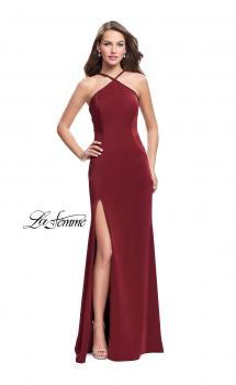 Picture of: Jersey Prom Dress with Beaded Straps and High Neckline in Burgundy, Style: 25698, Main Picture