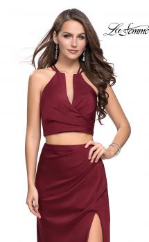 Picture of: Two Piece Jersey Prom Dress with Wrap Style Ruching in Burgundy, Style: 25731, Main Picture