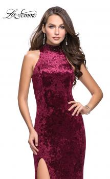 Picture of: Long Crushed Velvet Prom Dress with Beaded Choker in Burgundy, Style: 25783, Main Picture
