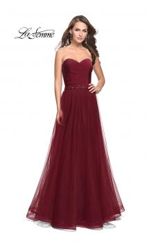 Picture of: Strapless A-line Ball Gown with Layered Tulle Skirt in Burgundy, Style: 25809, Main Picture
