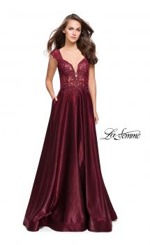 Picture of: A-Line Dress with Satin Skirt and Beaded Lace Bodice in Burgundy, Style: 25973, Main Picture