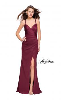 Picture of: Satin Prom Dress with Ruching and Open Strappy Back, Style: 26036, Main Picture