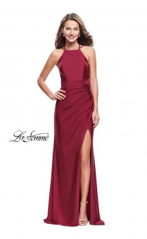 Picture of: High Neck Long Form Fitting Gown with Ruching in Burgundy, Style: 26141, Main Picture