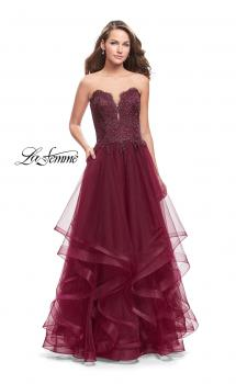 Picture of: Long Strapless Ball Gown with ruffle Tulle Skirt and Beads in Burgundy, Style: 26242, Main Picture