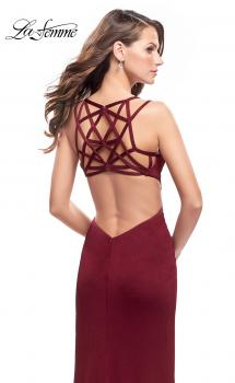 Picture of: Shimmering Prom Dress with Leg Slit and Open Back in Burgundy, Style: 26266, Main Picture