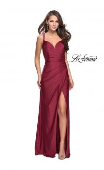 Picture of: Long Jersey Prom Dress with Ruching Side Wrap Detail in Burgundy, Style: 26317, Main Picture