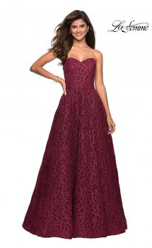 Picture of: Strapless A Line Ball Gown with Metallic Embroidery in Burgundy, Style: 27063, Main Picture