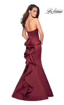 Picture of: Strapless V Prom Gown with Cascading Ruffle Back, Style: 27105, Main Picture