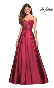Picture of: Long Mikado Gown with Lace Bust and Open Back, Style: 27222, Main Picture