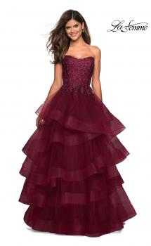 Picture of: Strapless Floor Length Layered Tulle Prom Gown in Burgundy, Style: 27291, Main Picture