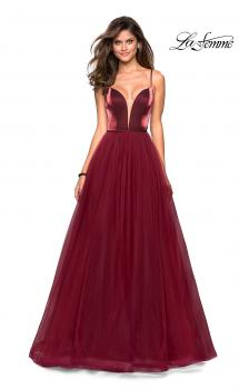 Picture of: Tulle evening Gown with Satin Bust and V Shaped Back in Burgundy, Style: 27485, Main Picture
