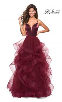 Picture of: Cascading Tulle Gown with Satin Top and V Back in Burgundy, Style: 27502, Main Picture