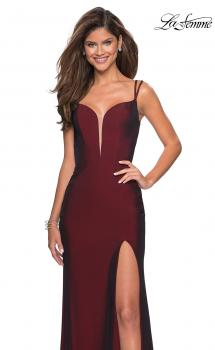 Picture of: Form Fitting Jersey Dress with Open Strappy Back in Burgundy, Style: 27512, Main Picture