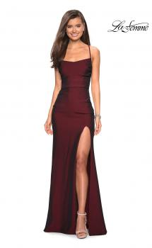 Picture of: Simple Long Jersey Dress with Slit and Ruching, Style: 27660, Main Picture