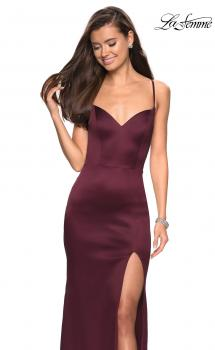 Picture of: Form Fitting Satin Dress with Slit and Strappy Back in Burgundy, Style: 27758, Main Picture