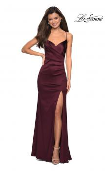 Picture of: Form Fitting Satin Prom Dress with Ruching in Burgundy, Style: 27782, Main Picture