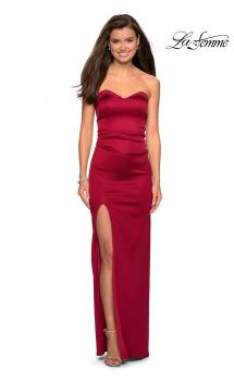 Picture of: Strapless Form Fitting Satin Dress with Side Leg Slit in Burgundy, Style: 27787, Main Picture