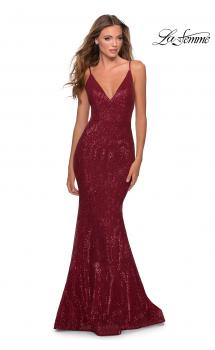 Picture of: Sequin Mermaid Prom Dress with Strappy Back in Burgundy, Style: 28519, Main Picture
