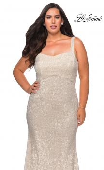 Picture of: Long Sequin Plus Size Prom Dress for Curves in Champagne, Style: 28875, Main Picture, Main Picture