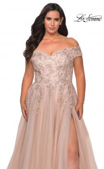 Picture of: Off The Shoulder Tulle Plus Size Gown with Lace in Champagne, Style: 28950, Main Picture