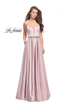 Picture of: Satin Prom Dress with A Line Skirt and Beaded Belt in Champagne, Style: 24821, Main Picture
