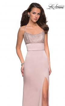 Picture of: Fitted Jersey Dress with Banded Waist and Beads in Champagne, Style: 27274, Main Picture