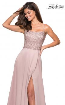 Picture of: Floor Length Prom Dress with Beaded Bust Detail in Champagne, Style: 27293, Main Picture