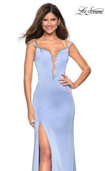 Picture of: Long Gown with Intricate Tape Beading and Illusion Detail in Cloud Blue, Style: 27081, Main Picture