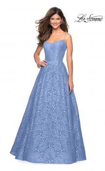 Picture of: Long Lace Organza Sweetheart Neckline Gown in Cloud Blue, Style: 27190, Main Picture