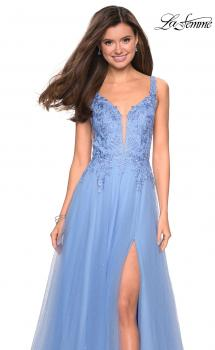 Picture of: Long Tulle Prom Dress with Embellished Bodice and Slit in Cloud Blue, Style: 27646, Main Picture