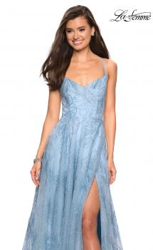 Picture of: Lace Prom Dress with Floral Detail and Side Leg Slit in Cloud Blue, Style: 27704, Main Picture