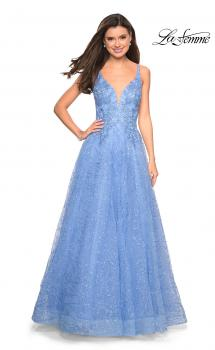 Picture of: A-Line Tulle Ball Gown with Strappy Open Back in Cloud Blue, Style: 27719, Main Picture