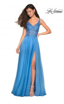 Picture of: Floor Length Chiffon Prom Dress with Sheer Floral Bodice in Cloud Blue, Style: 27751, Main Picture
