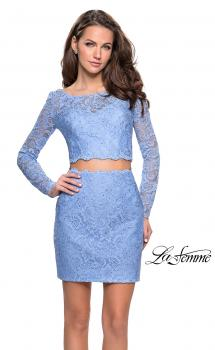 Picture of: Long Sleeve Two Piece Dress with Rhinestone Detail in Cloud Blue, Style: 26767, Main Picture