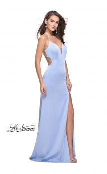 Picture of: Long Jersey Prom Dress with Plunging Neckline and Beading in Cloud Blue, Style: 25398, Main Picture