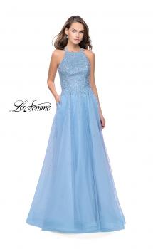 Picture of: High Neck Tulle A-line Prom Dress with Pockets in Cloud Blue, Style: 26250, Main Picture