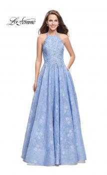 Picture of: High Neck A-line Gown with Beaded Bodice and Pockets, Style: 26337, Main Picture